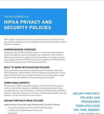 HIPAA Privacy and Security Policies