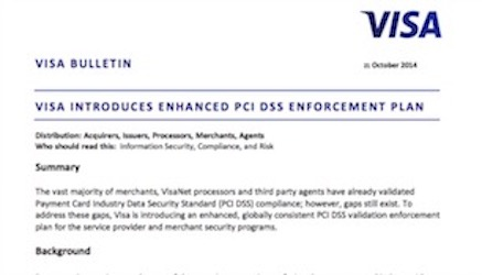 Visa PCI Enforcement Rules in 2015