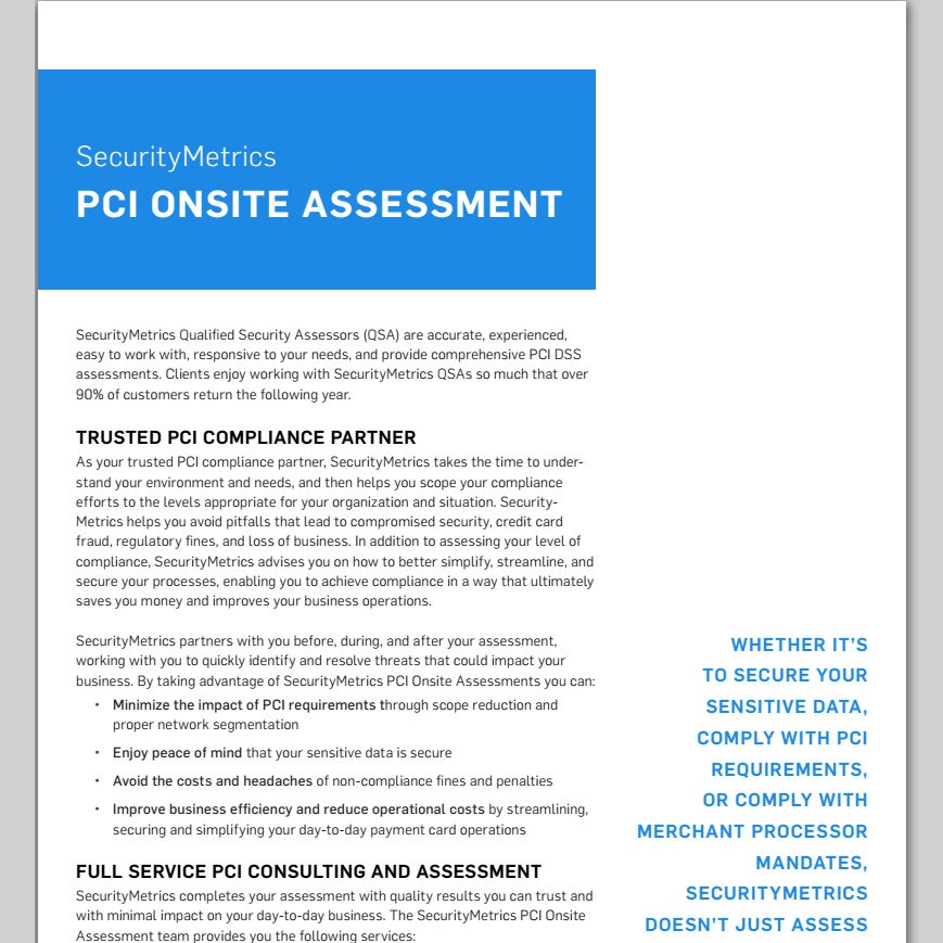 Onsite Assessment Data Sheet