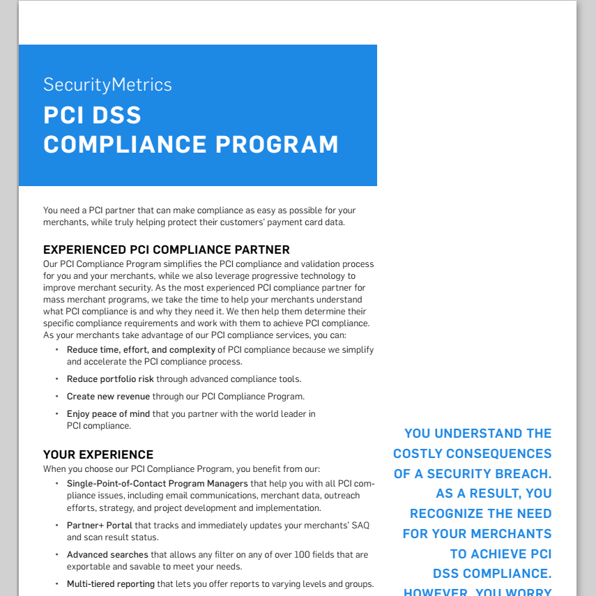 PCI Program Data Sheet