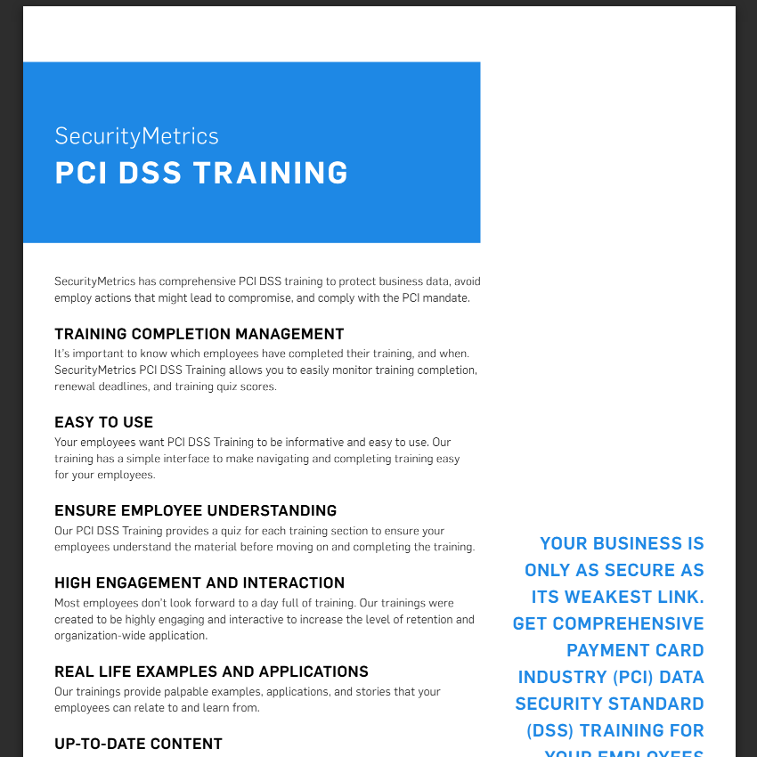 PCI Security Training Data Sheet