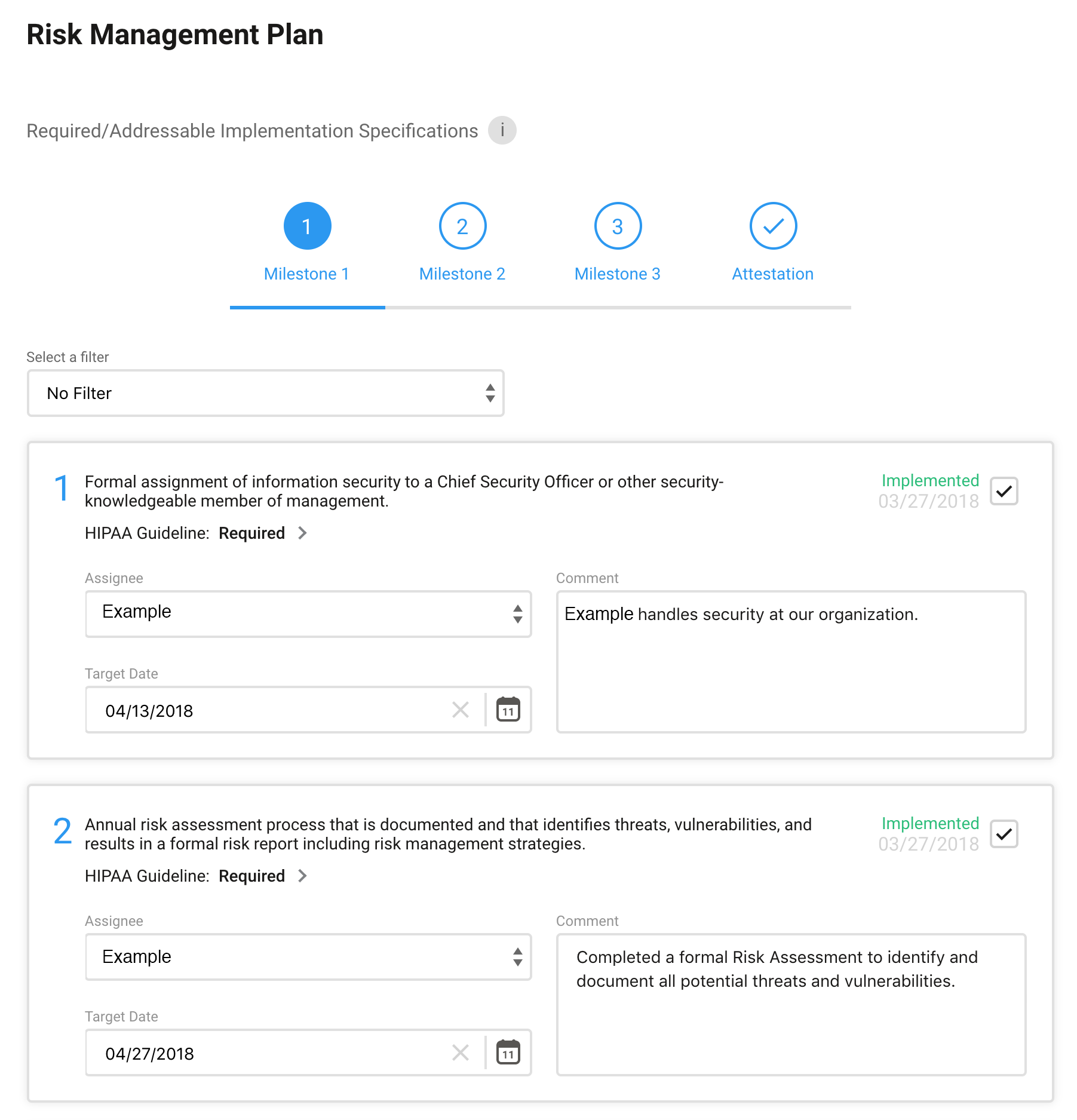 hipaa portal risk management plan