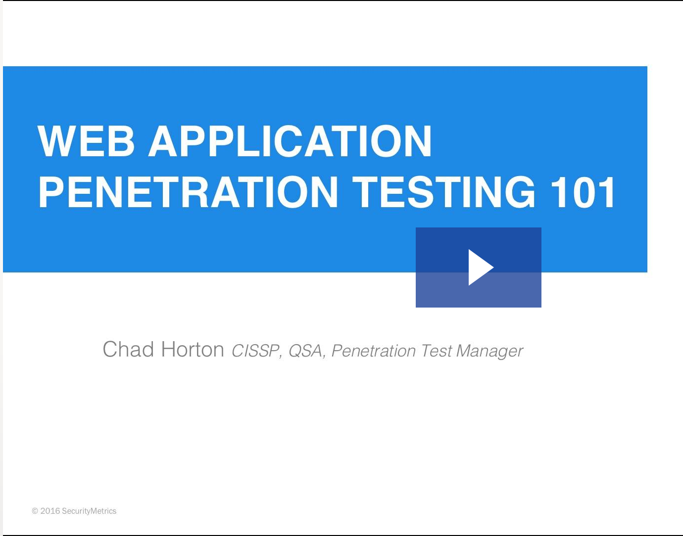 Web Application Penetration Testing 101